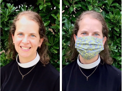 Pastor Julie Bringman with and without mask 2020